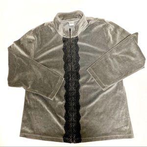 Natori Sage Green Lounge Jacket, Size XL.